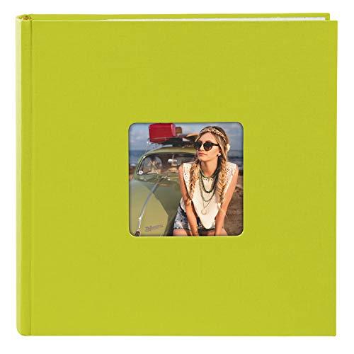 goldbuch 17196 Foto Einsteckalbum Living, Fotoalbum für 200 Fotos im Format 10x15cm, Memoalbum mit Bildausschnitt-Cover, Fotobuch in Leinenoptik, Album zum Einstecken, ca. 22,5 x 22,5 cm, Grün