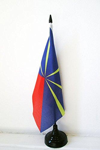 AZ FLAG Drapeau de Table La Réunion 21x14cm - Petit Drapeaux DE Bureau réunionais - France 14 x 21 cm