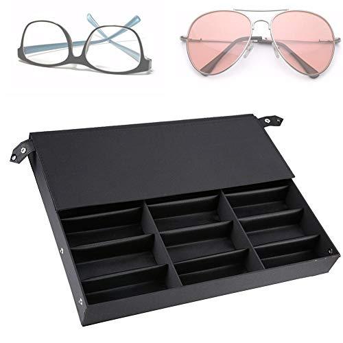 Aufbewahrungsbox für Brillen, Brillenbox mit Staubschutz für 18 paar Brillen Brillendisplay, schwarz MDF 47 × 37 × 6 cm