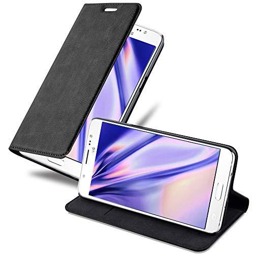 Cadorabo Hülle für Samsung Galaxy J5 2016 in Nacht SCHWARZ - Handyhülle mit Magnetverschluss, Standfunktion und Kartenfach - Case Cover Schutzhülle Etui Tasche Book Klapp Style