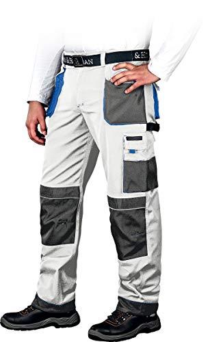 Leber&Hollman Arbeitshose für Herren - Sicherheitshose für Männer - mit Taschen für Kniepolster - Bundhose - Berufsbekleidung - Weiß/Blau - Größe 46