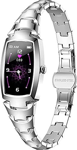 Pulsera inteligente para mujer, elegante y hermoso, reloj inteligente con podómetro, monitor de sueño, monitor de ritmo cardíaco, notificación de mensajes, color plateado