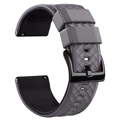 Ritche 18mm Silicone Watch Band Compatible with Fossil Q Gen 4 Venture HR Quick Release Rubber Watch Bands for Men Women