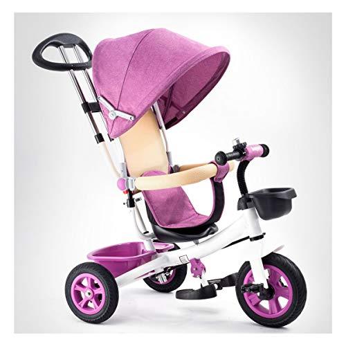 GJNWRQCY Dreiräder Babys evolutionären Spielzeug Jahr 1-3 Kinder Fahrrad Fahrrad Faltrad Mädchen Kindersitz Kinderwagen Körbe,Rosa