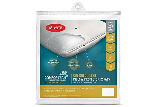 Tontine T6626 Comfortech Cotton Quilted Pillow Protector, White, Pack of 2