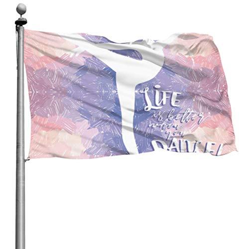 ZHANGhome Flaggendekorationen Kinderballerina tanzen auf künstlerischem Leben Große dekorative Flaggen dekorative Außenflagge 4x6 Ft (120x180cm) Polyester mit Ösen Dekorationen Innen/Außen