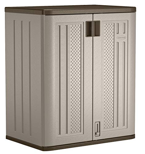 Suncast Base Storage Cabinet - Resin Construction for Garage Storage - 36' Garage Organizer with Shelving Holds up to 75 lbs. - Platinum Doors & Slate Top