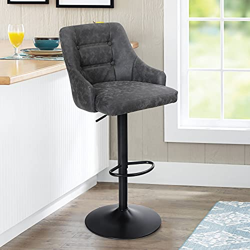 Maison Adjustable Swivel Bar Stool with Back for Kitchen Counter Padded Counter Height Faux Leather Bar Chair with Heavy Duty Base for Pub Cafe Dining, 300LBS Capacity, Grey, 1 Stool, Ring Back