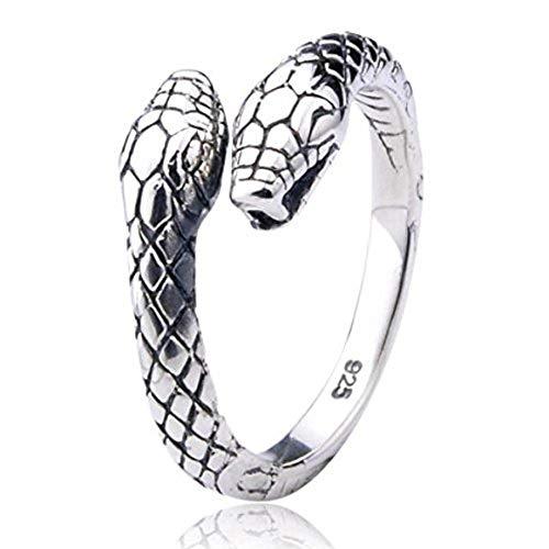 Serebra Jewelry anillo de serpiente de dos cabezas en plata de ley 925 para mujer hombre unisex