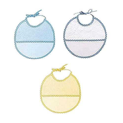 Ti TIN - Pack 3 Baberos de Punto de Cruz 100% Algodón con Tacto muy suave | Color Azul y medidas 19x19 cm - Baberos de rizo de algodón, fáciles de cerrar