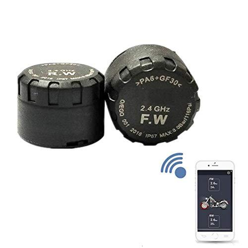 Kabelloses Reifendruckkontrollsystem für Motorräder mit 2 Sensoren – Motorräder, Bluetooth, Echtzeit-Druck- und Temperaturwarnungen, für sicheres Fahren