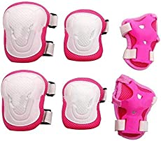 6 in 1 Thicken Skateboarding Cycling Inline Skating Roller Blading Protective Gear Wrist Guard Knee Pads and Elbow Pads Support Protection Safety Pads Set for Men and Women (White+Pink)