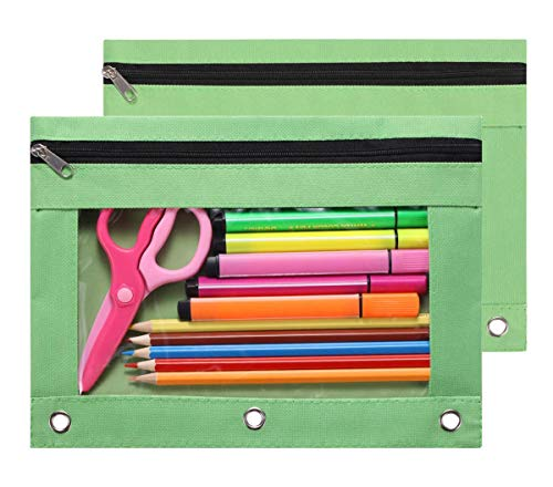 LaOficina 3 Ring Binder Pencil Pouches with Zipper School Class Binder Pocket Cases Stationery Bag,2 Packs Green