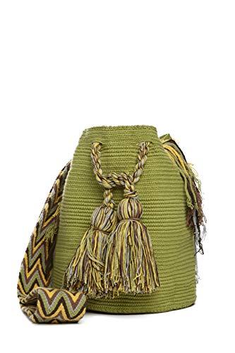 Bolso Wayuu Artesanal, Verde Manzana, Original De Colombia