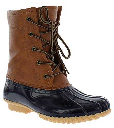 sporto Womens Duck Boots with Lace-Up Closure (Attina) Waterproof Insulated Mid-Calf Winter Boots for Comfort, Durability - Keeps Feet Warm & Dry Tan/Navy