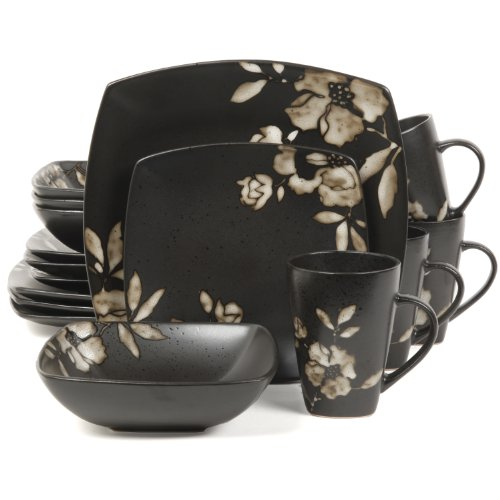 Gibson Elite Lanark 16-Piece Square Dinnerware Set, Black - 100193.16RM