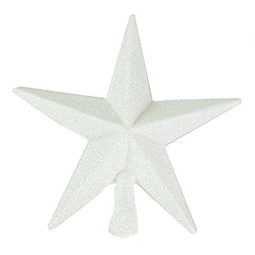 Stern für Spitze des Weihnachtsbaums, glitzernd, 20 cm weiß