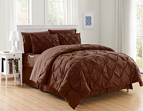 Elegant Comfort Luxury Best, Softest, Coziest 8-Piece Bed-in-a-Bag Comforter Set on Amazon Silky Soft Complete Set Includes Bed Sheet Set with Double Sided Storage Pockets, King/Cal King, Chocolate