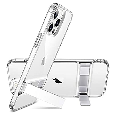 ESR Metal Kickstand Compatible with iPhone 12 Case/iPhone 12 Pro Case [Patented Design] [Two-Way Stand] [Reinforced Drop Protection] Flexible TPU Soft Back for 2020 6.1-Inch – Clear