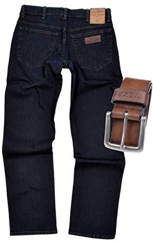 Wrangler Texas Stretch Herren Jeans Regular Fit inkl. Gürtel (W34/L32, Blue Black + brauner Gürtel)