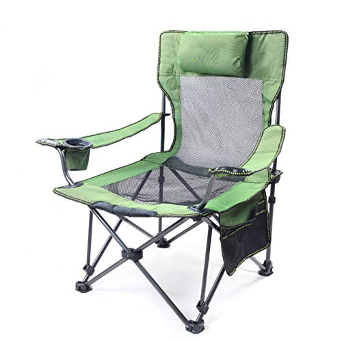 ZMCKD Camping opvouwbare stoel Visstoel Draagbare Opvouwbare Strandstoelen Zitzak Fles Gat Camping 150kg Bevestigbaar Beweegbaar Kussen Ademend Netto Chai