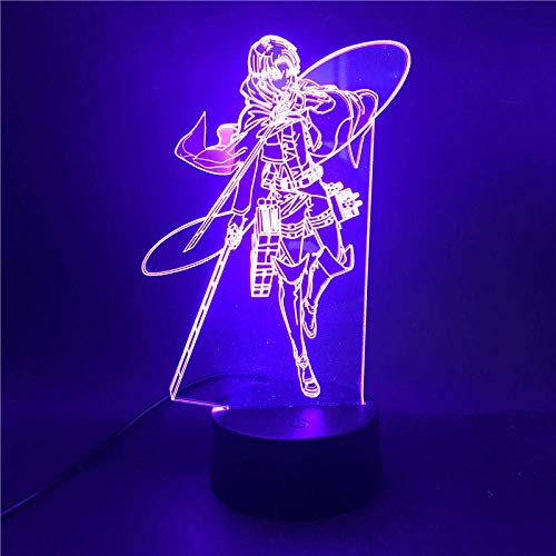 3D ilusión lámpara led noche anime figura ataque en Titan Levi Ackerman acrílico bebé niños hogar dormitorio regalo