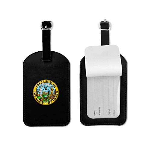 Seal of Idaho Luggage Tags,Pu Leather Name Id Labels with Privacy Cover for Travel Bag Suitcase