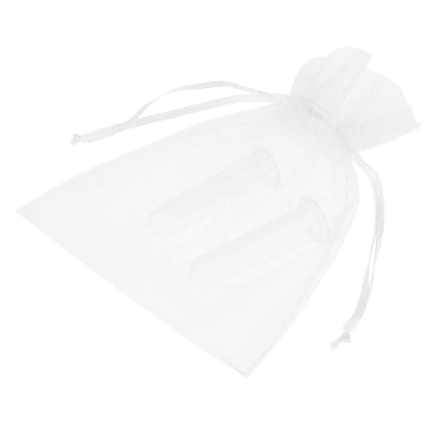廊下子音闘争D DOLITY ウェルネスケア  シリコンカッピング 真空 カッピング デトックス 顔用 収納ポーチ付き 2個全2色 - ホワイト