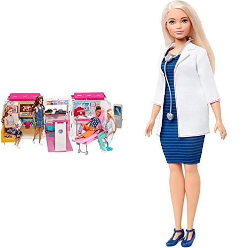 Barbie Ambulancia Hospital 2 En 1, Accesorios De Muñecas (Mattel Frm19) + Quiero Ser Doctora, Muñeca con Accesorios (Mattel Fxp00) , Color/Modelo Surtido