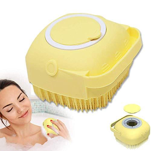 Spazzola da Bagno in Silicone,2 IN 1 Spazzola per doccia morbida, Scrubber per il corpo con dispenser per gel doccia, Strumento per doccia esfoliante per massaggio Spazzola (Giallo)