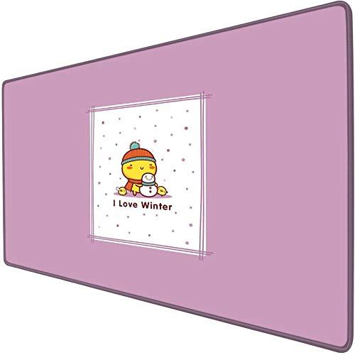 xxl gaming mauspad Petit hiver bonhomme de neige poulet jaune plaid Anime Cartoon niedlich Spielmausunterlage Schreibtischmatte übergroß Anime weich wasserdicht Präzision