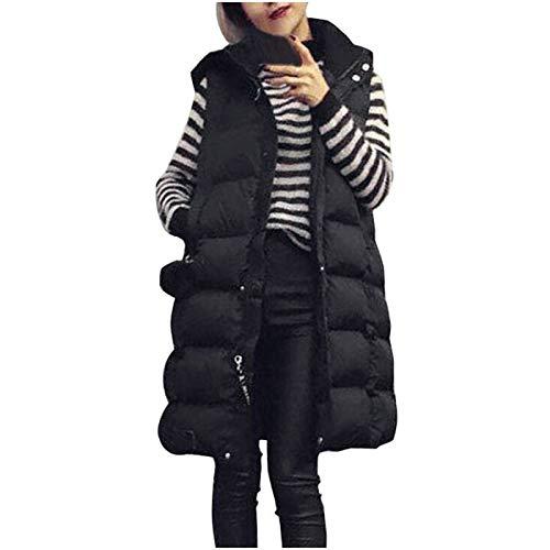 Cloodut Damen Weste Lang Mantel Outwear Ärmellose mit Kapuze Warm Steppweste Wintermantel Vest(Schwarz,XL)