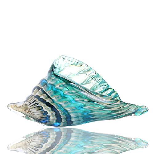 H&D HYALINE & DORA Art Glass Conch Sea Shells figurines Hand Blown Glass Animal Sculpture for Home/Office/Bookshelf Modern Decoration