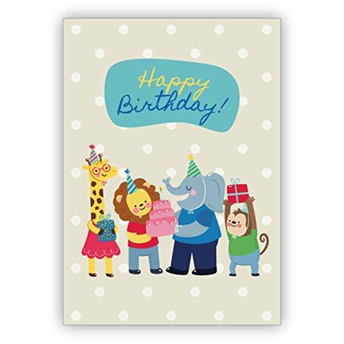 Vrolijke verjaardagskaart met schattige dierentuindieren niet alleen voor kinderen: Happy Birthday • mooie felicitatie cadeaukaart met envelop zakelijk & privé 4 Grußkarten