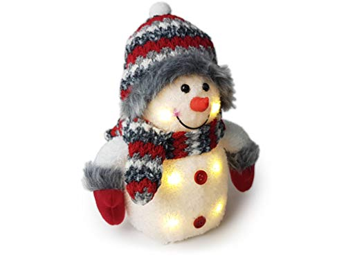 Gravidus Weihnachten Deko Schneemann mit LED Beleuchtung in ca. 26 cm Hoch, mit Schal und Mütze in Weiß, Grau, Rot gestreift, Geschenke für Großeltern