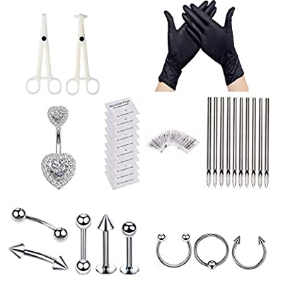 Piercing Kit,New Star Tattoo 33pcs Professional Belly Nose Piercing Kit Stainless Steel 14G 16G Piercing Needles Piercing Clamps Gloves for Nose Rings Studs Body Piercing Jewelry Set (silver)