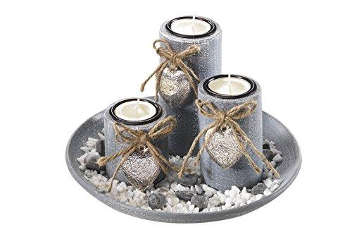 Kobolo Dekoschale rund mit 3 Kerzenhalter grau inkl. Steindekoration