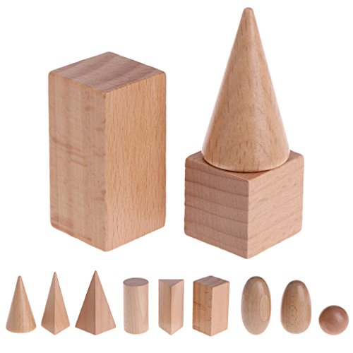 Autone Wooden Geometric Solids 3-D Shapes Montessori Learning Resources for School Home