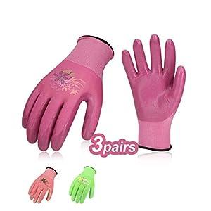 Vgo 3-Pares Guantes Nitrilo de Jardinería y Guantes de Trabajo para Mujeres (Talla 7/S, Rojo, Púrpura y Verde, NT2110P3)