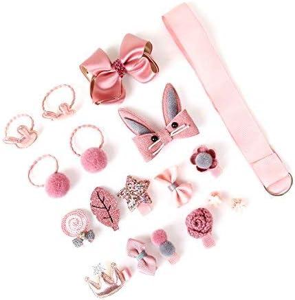 Arkmiido Girls's Hair Accessories Set (Dark Pink)
