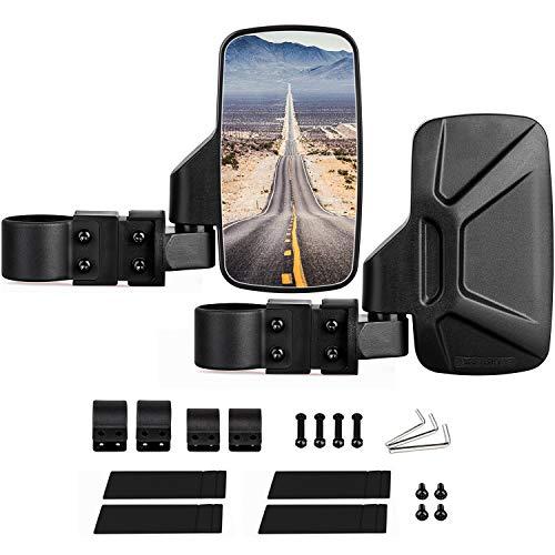 "CALBEAU UTV Rear View Mirrors, 2 Pack UTV Side Mirrors for Polaris RZR, Kawasaki Teryx, Yamaha Rhino and YXZ, RZR 2020, Adjustable UTV Side Rear View Mirrors with 1.75"" and 2"" Roll Bar Cage"