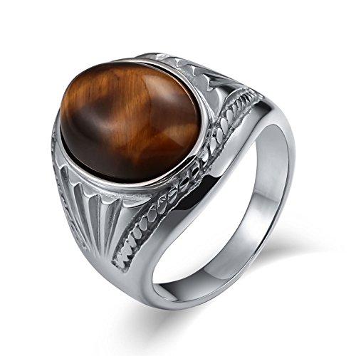 Aidsaer Ring Weißgold Stein Ring Männer Weissgold Silber Opal Oval Zirkonia Ringgröße 57 (18.1) Party,Promise You, Ring Für Herrn