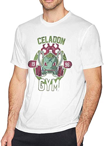 AiMei Cool Bulbasaur Gym Men's Short-Sleeved Standard T-Shirt White Clothing,White,3X-Large