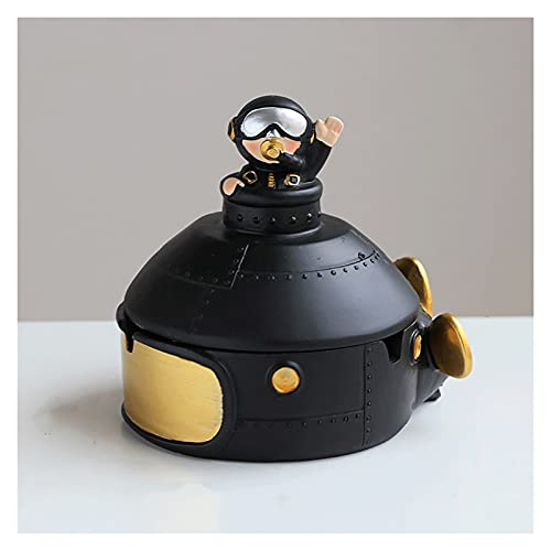 Cenicero Creative Astronaut Ash, bandeja de cenizas para el hogar sala de estar multifuncional bandejas de cenizas de la oficina sala de reuniones de 6 pulgadas interesante resina cenicero (negro / pl