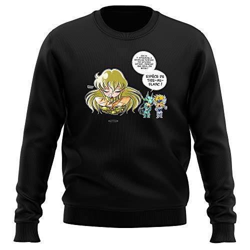 Okiwoki Pull Noir Saint Seiya parodique Shiryu du Dragon, Hyoga du Cygne et Shaka : La Technique Interdite: Le Roupillon du Lotus !! (Parodie Saint Seiya)
