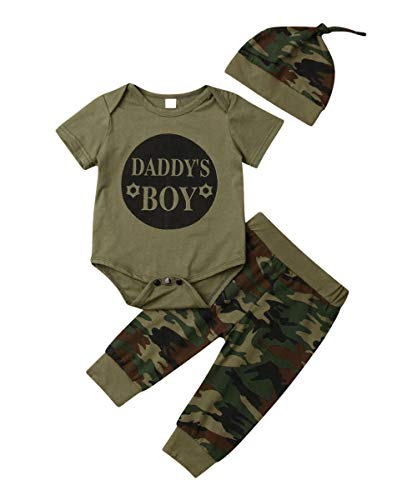 Daddy's Baby Boy Girl Outfits Camouflage Letter Print Romper Long Pants Hat Clothes Set for 0-24 Months Baby (12-18m, Daddy's BOY)