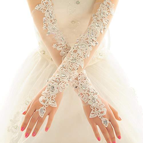 MoreChioce Damen Spitze Handschuhe,Hochzeit Braut Handschuhe Strass Armstulpen Frauen Lange Handschuhe Elastisch Lace Hochzeithandschuhe Hochzeit Party Abend Handschuhe,Weiß Diamant