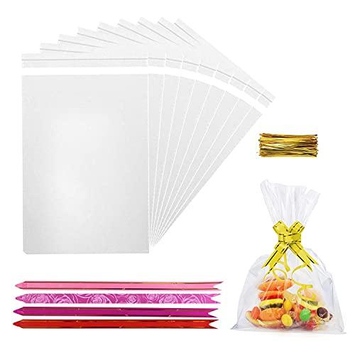 DazSpirit 200 pezzi Sacchetto Regalo Trasparente, 18 x 25 cm Bustine Caramelle Alimenti Sacchettini regalo biscotti confetti alimentari carta sacchetto confezioni compleanno natalizi