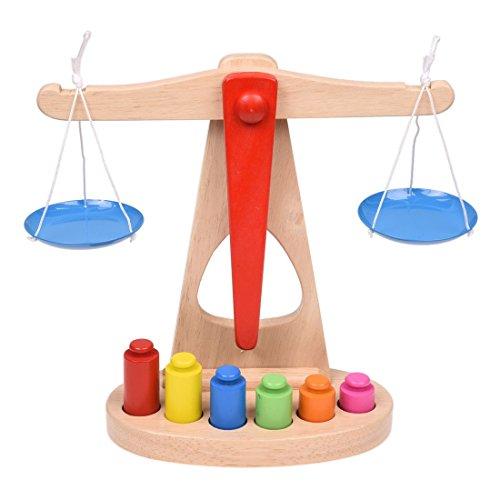 SODIAL(R) Juguete de ninos Escala de balanza de madera con 6 pesas, ideal para el aprendizaje de los ninos