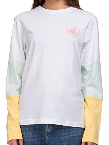 Body Glove Top Logo Panel L/S tee Camiseta Manga Larga, Mujer, White, L